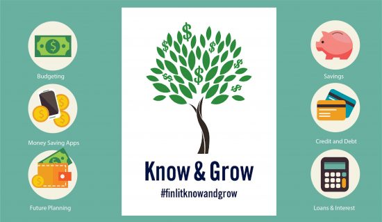 Financial Literacy. Information on budgeting, money saving apps, savings, credit and debt, loans and interest, and planning for the future. Know and Grow #finlitknowandgrow